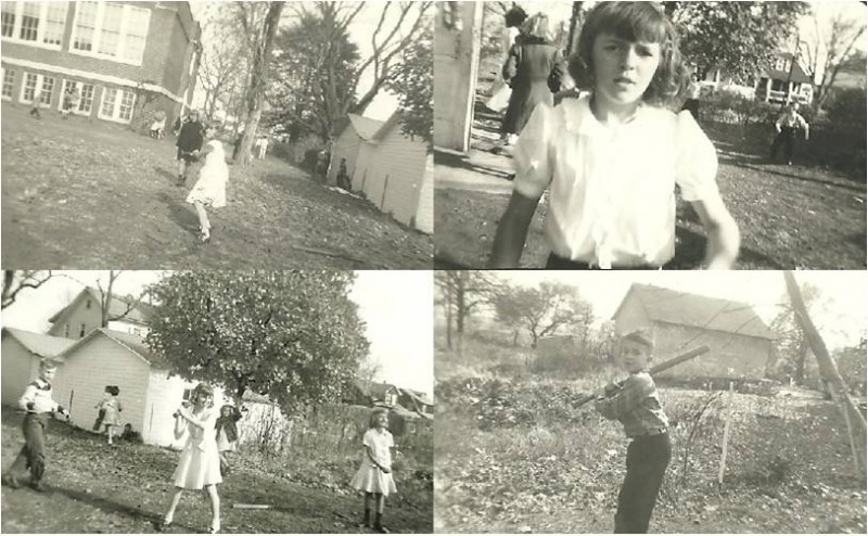several family photos children playing sports outdoors
